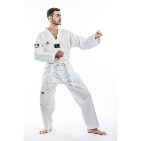 Tusah WTF Approved EZ-FIT Fighter Uniform, White V-Neck
