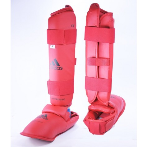 adidas WKF Approved Shin and Foot Protector - Red