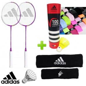 adidas Badminton F100 Training Set w/ Shuttles, Grips and Headband