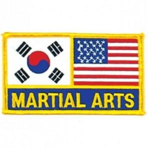 Korean and USA Flag Martial Arts Patch