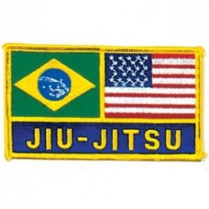 Brazil and USA Flag Jiu-jitsu Martial Arts Patch