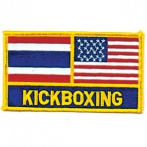 Thailand and USA Flag KickBoxing Martial Arts Patch